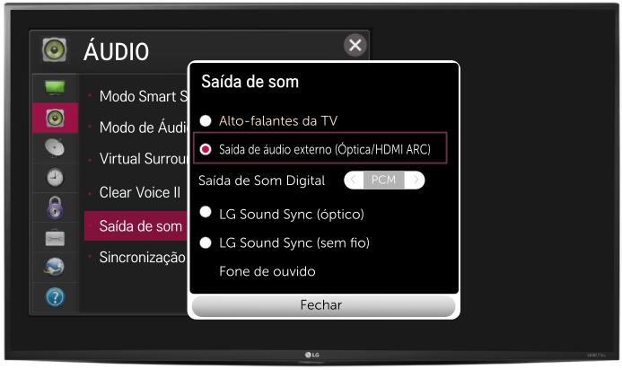 tv audio configuração